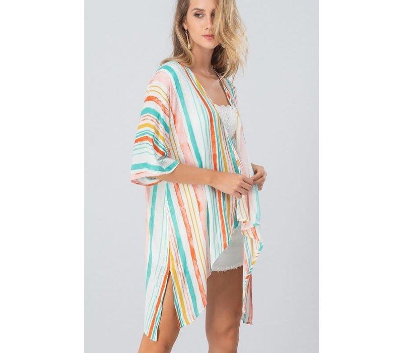 Brush Stripe Kimono Cardi