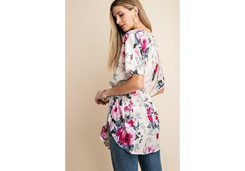 Ivory Floral & Lace Back Kimono