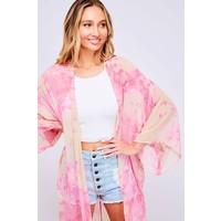 Pink Watercolor Kimono Duster