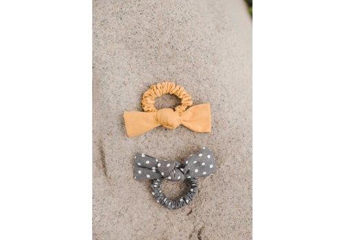 Yellow & Gray Polka Dot Bow Scrunchies