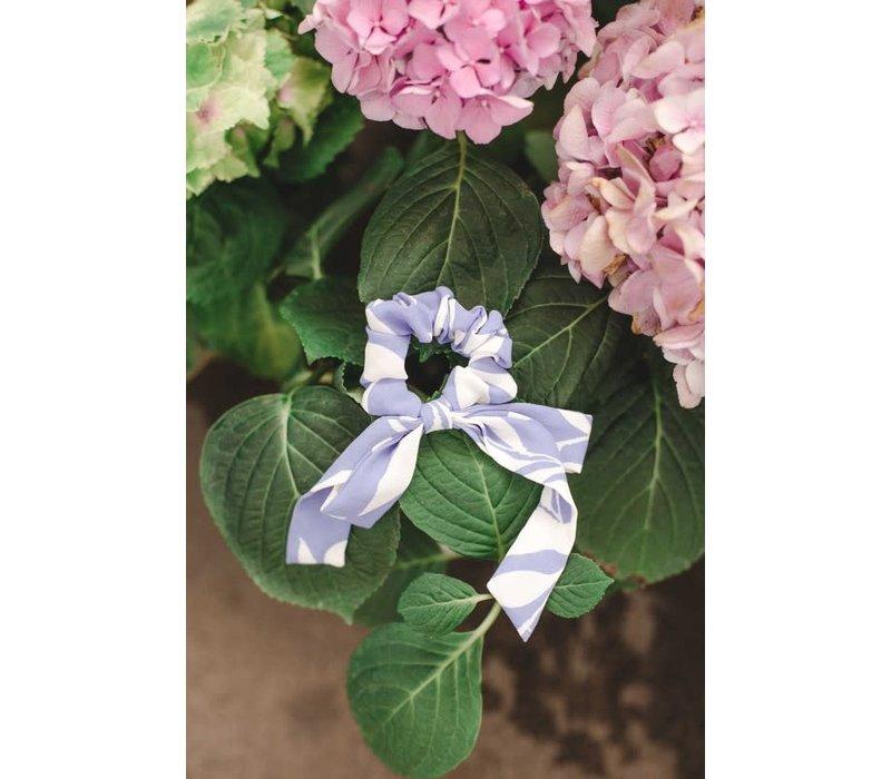 Blue Swirl Bow Scrunchie