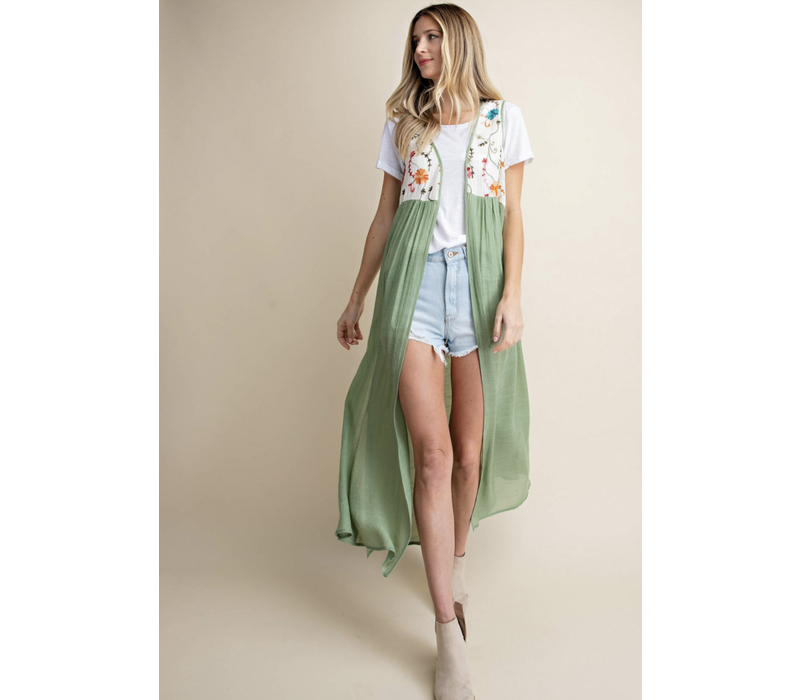Embroidered Duster Vest in Green
