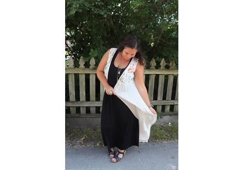 Embroidered Duster Vest in Cream