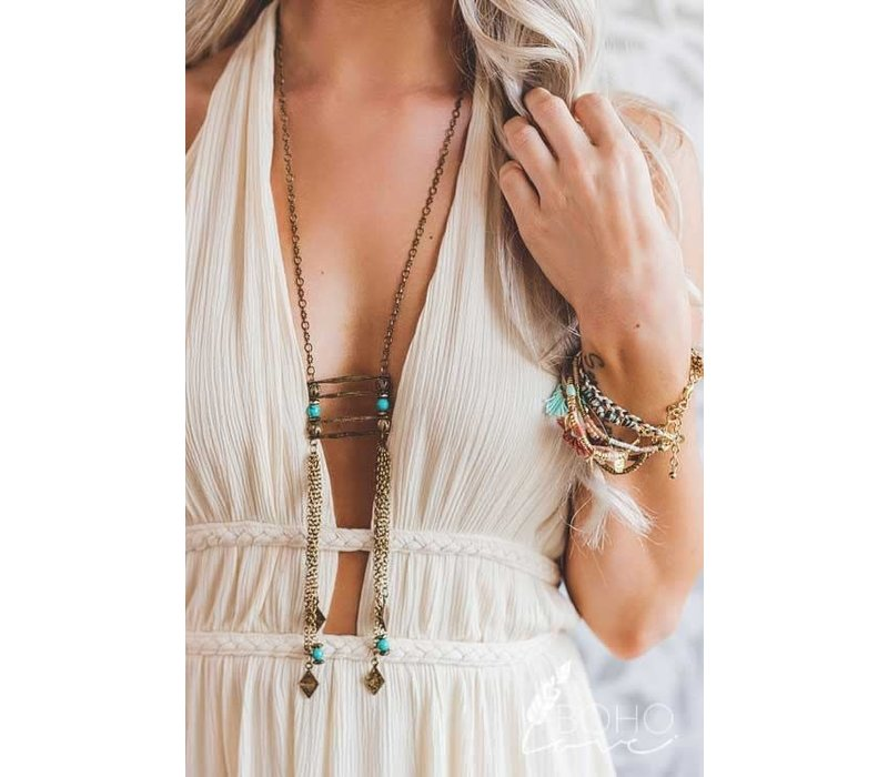 Boho Anitque Gold Chain & Turquoise Beaded Necklace