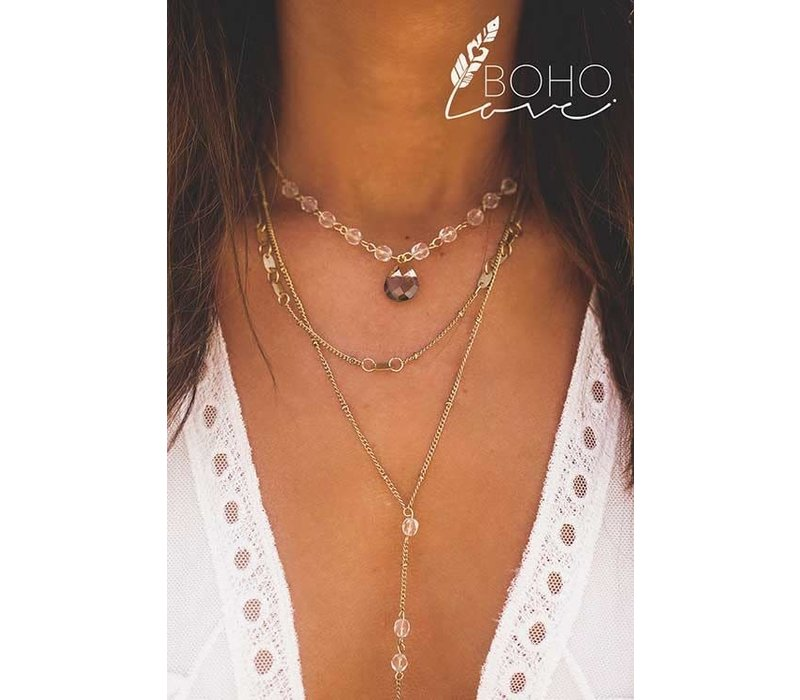 Boho Anitque Gold Crystal Layered Necklace