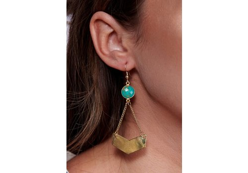 Handcrafted Drop Turquoise Stone Geo Earrings