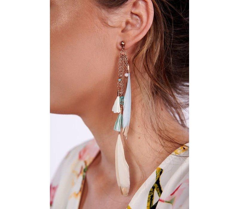 Boho Rose Gold Feather Earrings