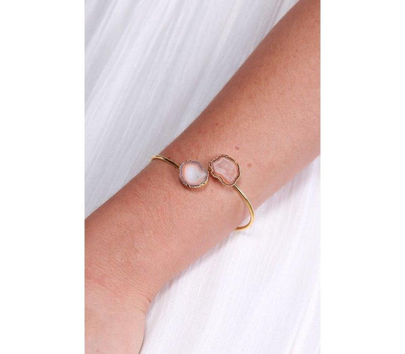 Boho Adjustable Geode Cuff Bracelet