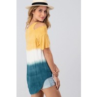 Cold Shoulder Dip Dye Top