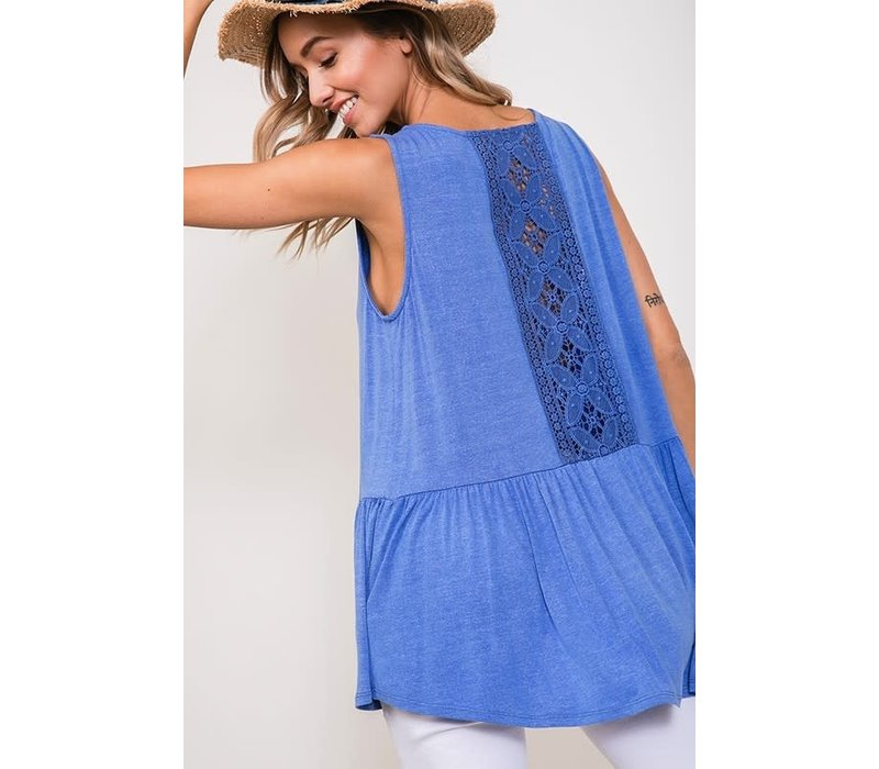 Lace Back Tank in Vintage Wash Blue