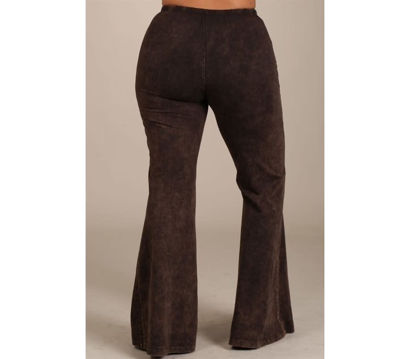 Brown Mineral Wash Bell Bottoms (CURVY)