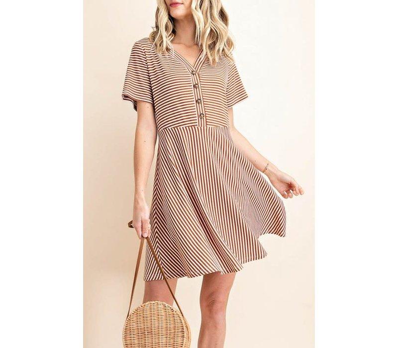 Rust Stripe Tshirt Dress