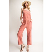 Clay Zipper Front Cropped Overalls