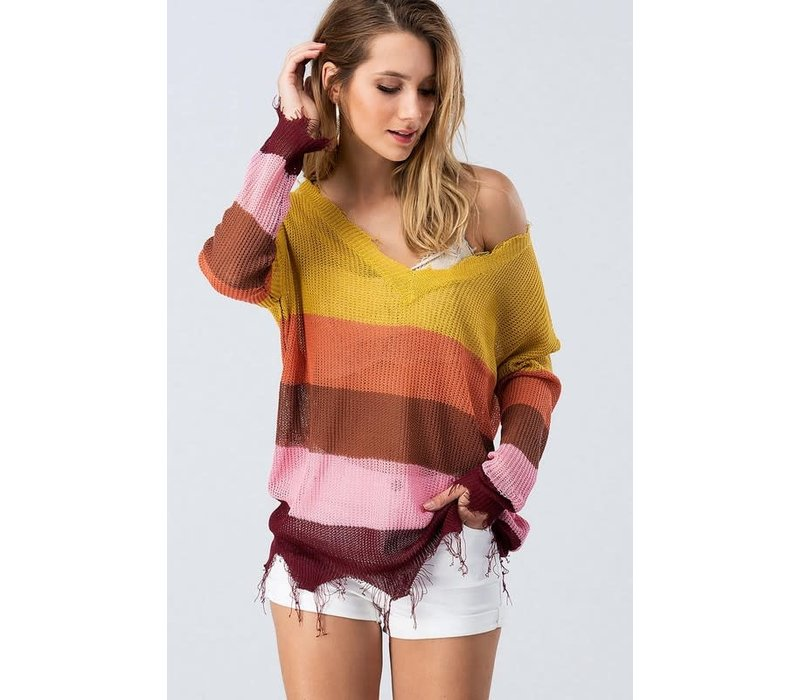 Fall Colorblock & Raw Hem Sweater
