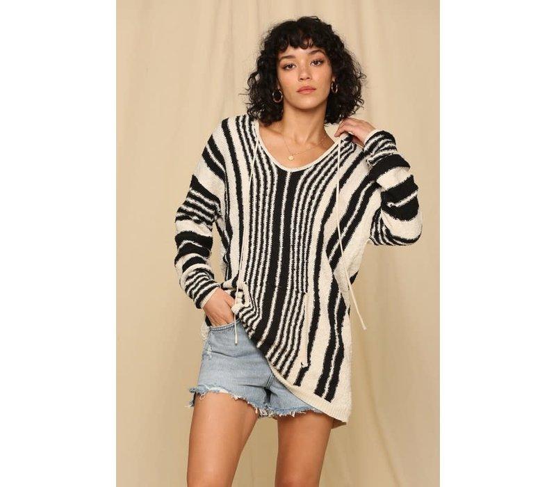 Black & Ivory Stripe Hooded Sweater