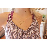 18k Gold Dip Letter Charm Necklace (A-J)