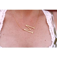 18k Gold Dip Letter Charm Necklace (K-Z)