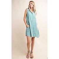Sage Stripe Shirt Dress