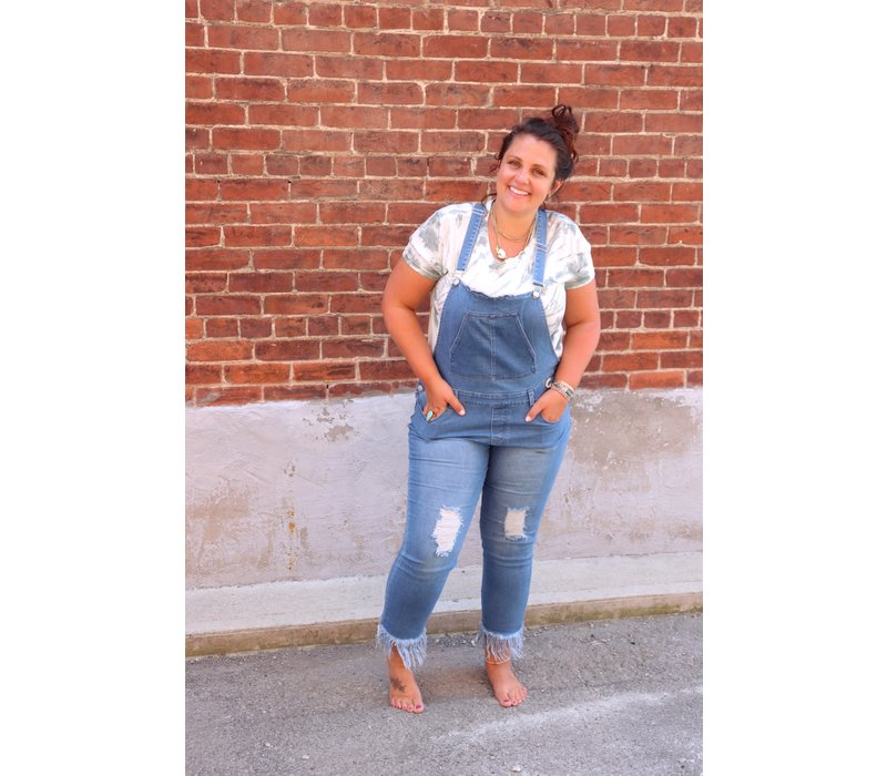 Curvy Fringed Denim Overalls
