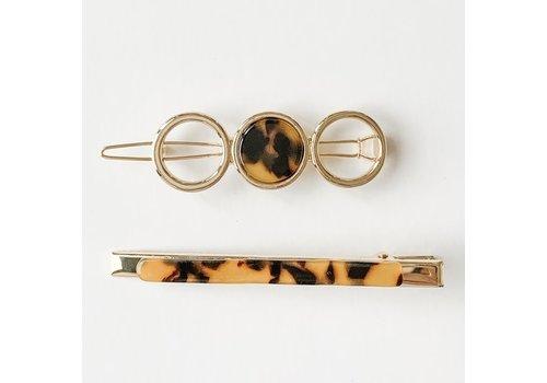 Acrylic Barrette & Clip Duo - Brown Tortoise
