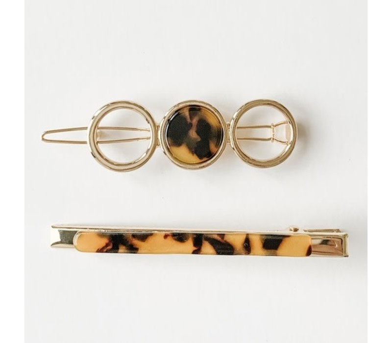 Acrylic Barrette & Clip Duo - Brown Tortoise