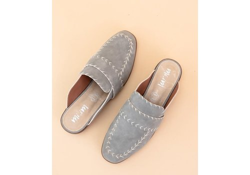 Gray Stitched Loafer Slides