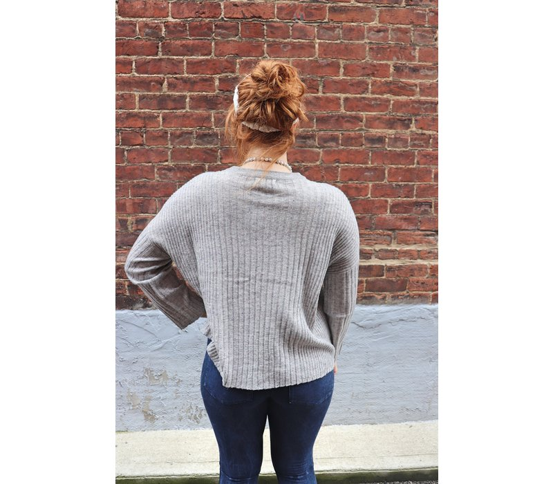 Gray Confetti Ribbed Sweater