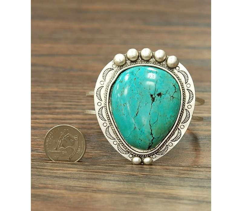 Large Turquoise Moon Cuff