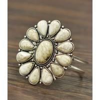 Large White Turquoise Flower Cuff