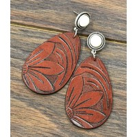 Leather Floral & Stone Earrings