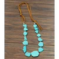 Turquoise Slab + Suede Necklace (2 Colors)