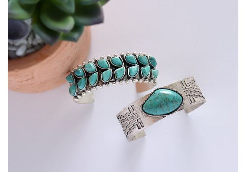 Large Turquoise Stone Cuffs (Adjustable)