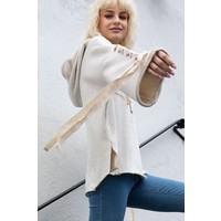 Lace Up Lounge Hoodie in Oatmeal