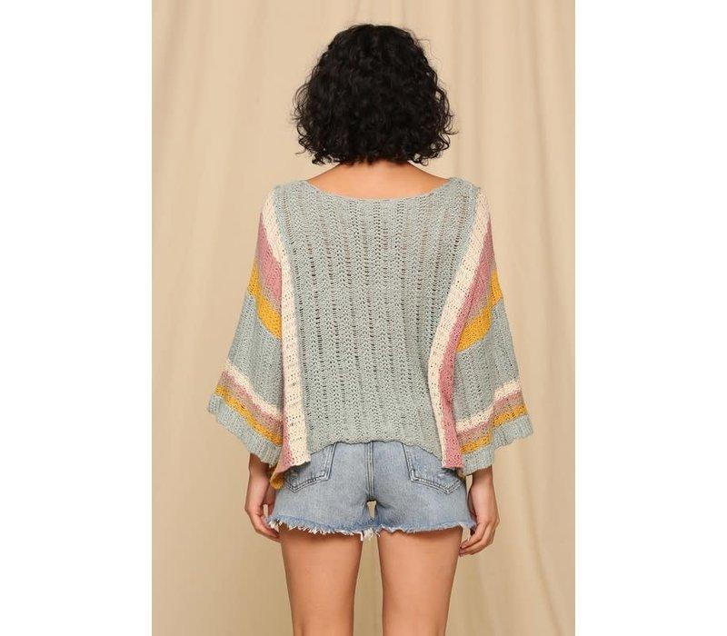 Sage Stripe Sleeve Sweater