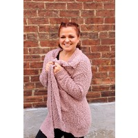 Chunky Knit Sweater Cardi in Lavender Mauve
