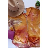 Fall Tie Dye Waffle Knit Top