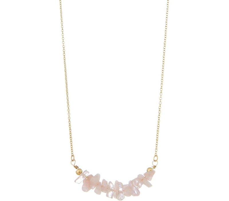 Pink & Orange Semi Precious Stone Chip Necklace