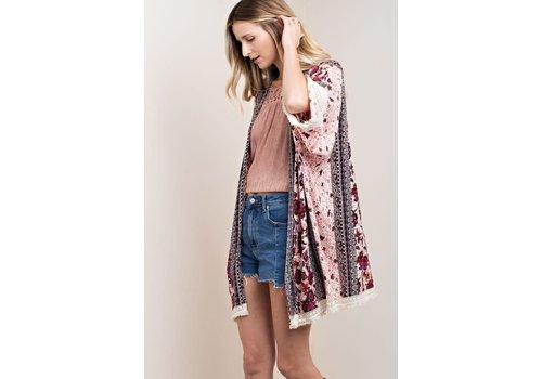 Plum Floral & Fringe Kimono