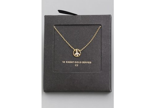 """Peace Out"" 14k Gold Dip Necklace"