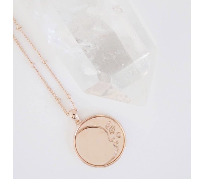 Moon Face 18k Rose Gold Plated Necklace