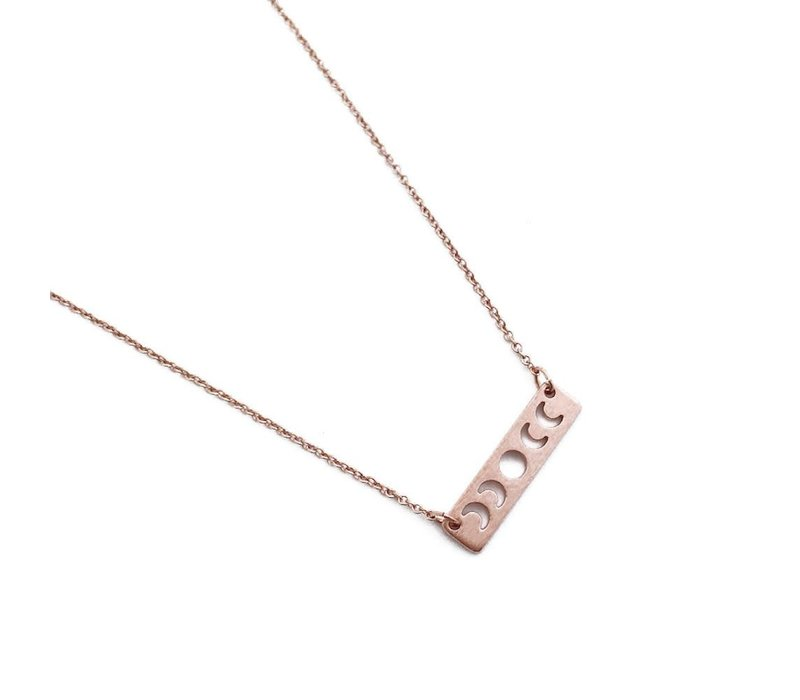 18k Rose Gold Moon Phase Bar Necklace