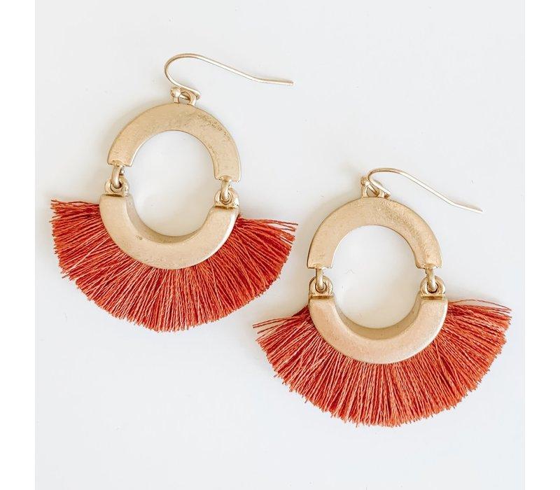 Fall Tassel Earrings- Rust