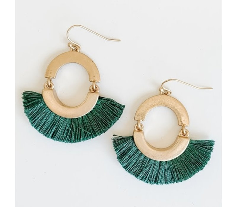 Fall Tassel Earrings- Teal