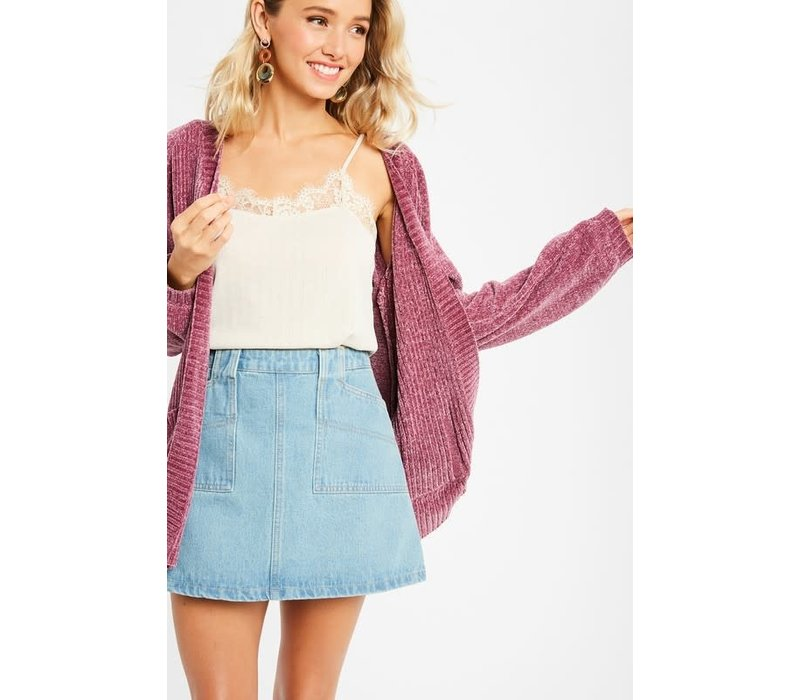 Cranberry Chenille Sweater Cardigan