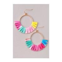 Raffia Wrapped Hoop Earrings (5 Colors)
