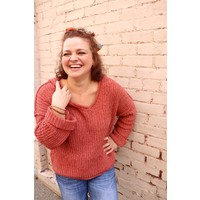 Chenille Hooded Sweater in Rust