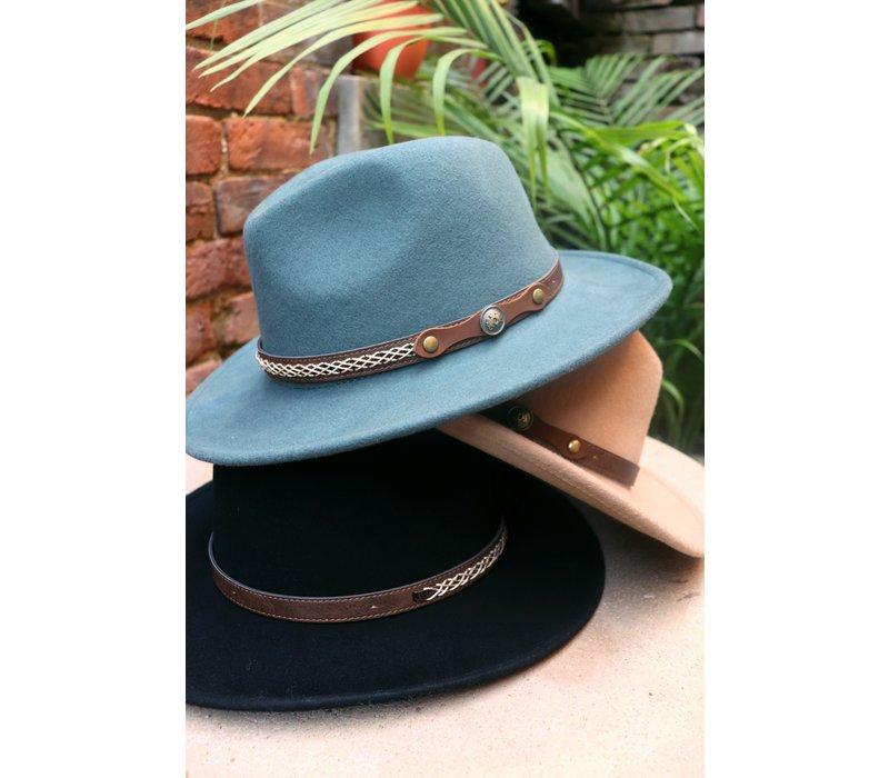 Stitched Leather Trim Felt Hats (3 Colors)