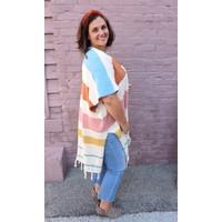 Bohemian Collect Stripe Knit Poncho