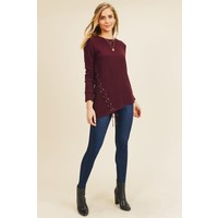 Asymmetrical Ribbed Lace Sweaters (2 Colors)