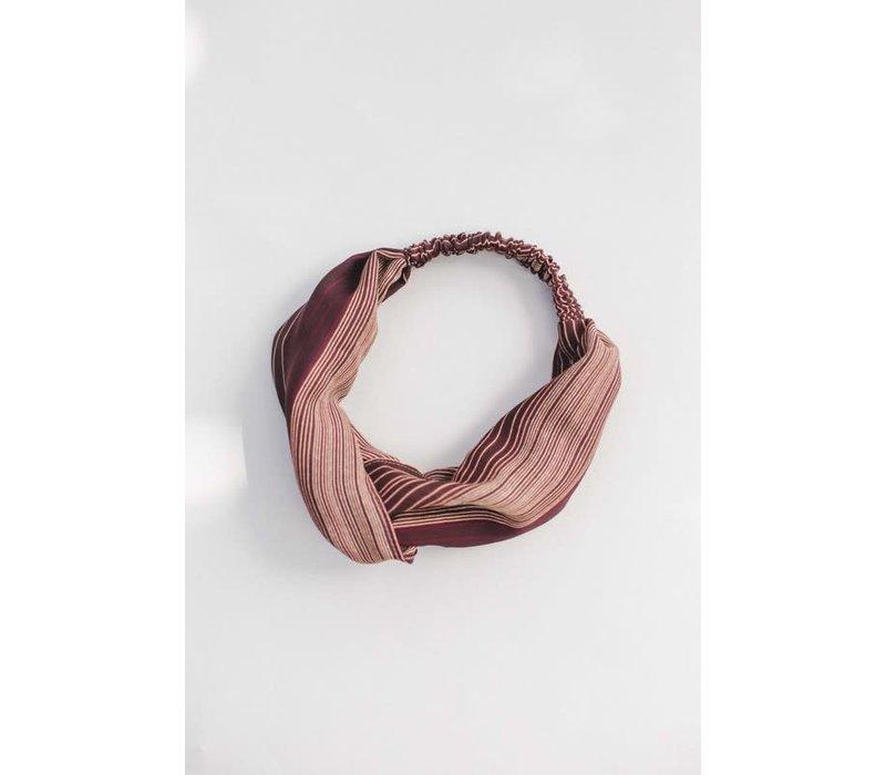 Brown Stripe Turban Headband